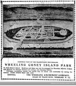 Concept drawing of Wheeling Coney Island Park as it appeared in the Wheeling News-Register, Jan. 22, 1905.
